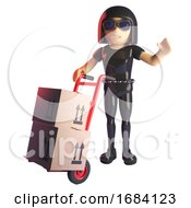 3d Gothic Fashion Girl In Leather Catsuit Delivering Parcels With A Hand Cart 3d Illustration