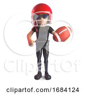 3d Gothic Fashion Girl In Black Leather Catsuit Playing American Football In A Helmet 3d Illustration