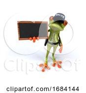 3d Green Springer Police Frog Holding A Blackboard by Julos