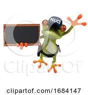 3d Green Springer Police Frog Holding A Blackboard