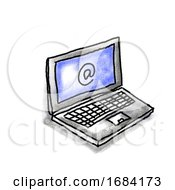 Poster, Art Print Of Laptop Computer E-Mail Sign Drawing
