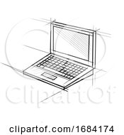 Poster, Art Print Of Laptop Computer Technical Drawing