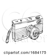 Vintage 35mm SLR Film Camera Drawing
