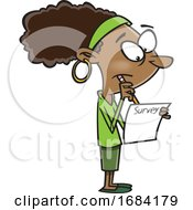 Cartoon Black Woman Taking A Survey