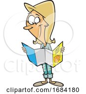 Cartoon White Woman Reading A Map by toonaday