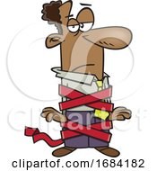 Cartoon Businessman Tied Up In Red Tape