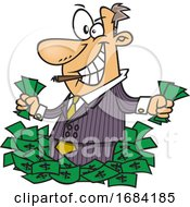 Cartoon Greedy Rich Businessman Or Salesman