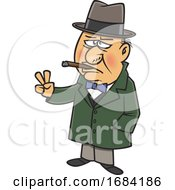 Cartoon Sir Winston Churchill Smoking A Cigar