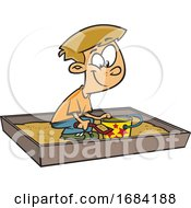 Cartoon White Boy Playing In A Sand Box