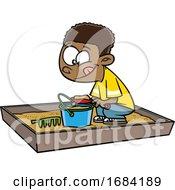 Poster, Art Print Of Cartoon Black Boy Playing In A Sand Box
