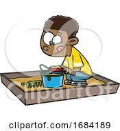 Cartoon Black Boy Playing In A Sand Box