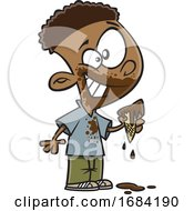 Cartoon Black Boy Eating A Messy Ice Cream Cone by toonaday