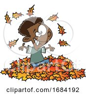 Cartoon Black Boy Playing In Autumn Leaves