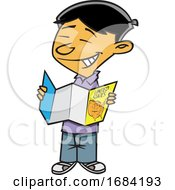 Cartoon Asian Boy Reading A Map