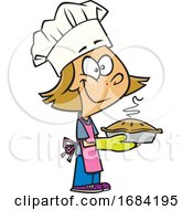 Cartoon White Chef Girl With A Fresh Pie
