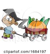 Cartoon Harvest Girl With A Wagon Of Produce