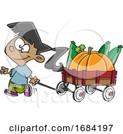 Cartoon Harvest Girl With A Wagon Of Produce