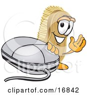 Scrub Brush Mascot Cartoon Character Waving And Standing By A Computer Mouse