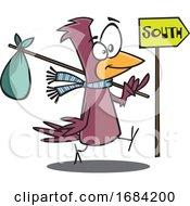 Poster, Art Print Of Cartoon Migrating Bird