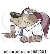 Cartoon Grumpy Boss Bear by toonaday