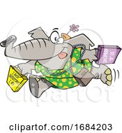 Cartoon Female Elephant Shopping