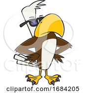 Cartoon Buff Cool Bald Eagle Wearing Sunglasses