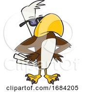 Cartoon Buff Cool Bald Eagle Wearing Sunglasses