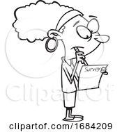 Lineart Black Woman Taking A Survey