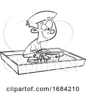 Lineart Boy Playing In A Sand Box