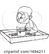 Poster, Art Print Of Lineart Boy Playing In A Sand Box
