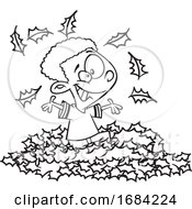 Lineart Black Boy Playing In Autumn Leaves