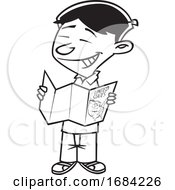 Lineart Asian Boy Reading a Map by toonaday #COLLC1684226-0008