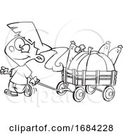Lineart Harvest Girl with a Wagon of Produce by toonaday #COLLC1684228-0008