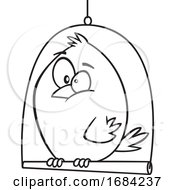 Lineart Canary Bird On A Swing