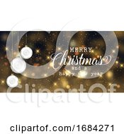 Christmas Banner With Baubles And Bokeh Lights Design