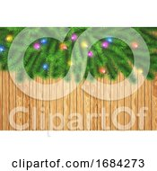 10/19/2019 - 3D Christmas Tree Branches With Lights On A Wooden Texture