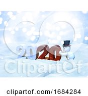 3D Christmas Snow Landscape With Snowman Bringing The New Year In