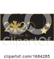 Happy New Year Banner With Glittery Snowflake And Hanging Stars