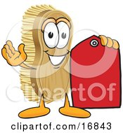 Scrub Brush Mascot Cartoon Character Holding A Red Sales Price Tag