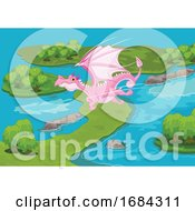 Pink Dragon Flying Over Islands