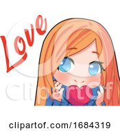 Poster, Art Print Of Manga Girl With A Love Heart