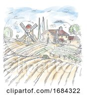 Watercolor Vector Farm Engraved Style Drawing