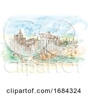 Watercolor Remains Of Temples In Foro Romano Rome Italy