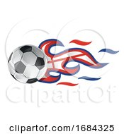 Soccer Ball With England Flag Flames