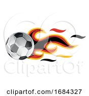 Soccer Ball With Germany Flag Flames