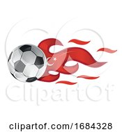 Soccer Ball With Turkey Flag Flames