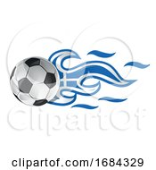 Soccer Ball With Greek Flag Flames