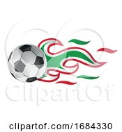 Soccer Ball With Mexican Flag Flames