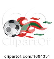 Soccer Ball With Portugal Flag Flames