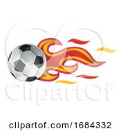 Soccer Ball With Spain Flag Flames